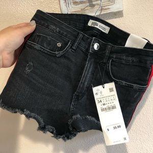 Zara girl black denim shorts NWT